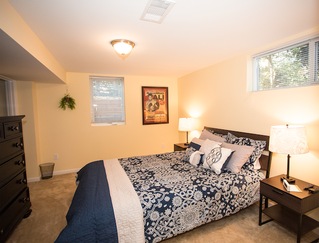 Bedroom area with queen-size bed and HUGE walk-in closet.  Plenty of fresh air and natural light.  Alarm clock and TV with Roku in bedroom.