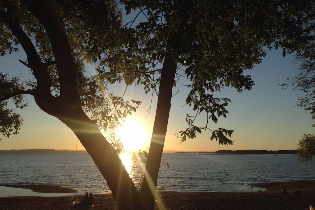 A Lake Champlain Sunset, just  steps away.