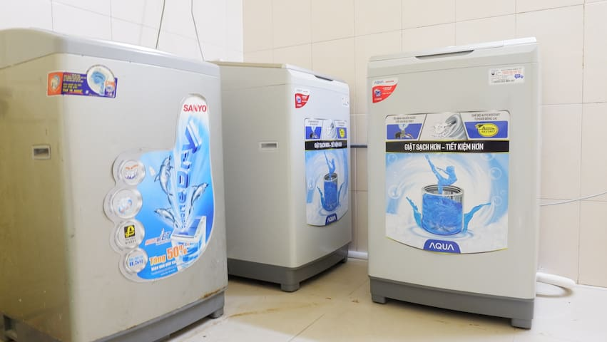 There are three washing machines for guests using free