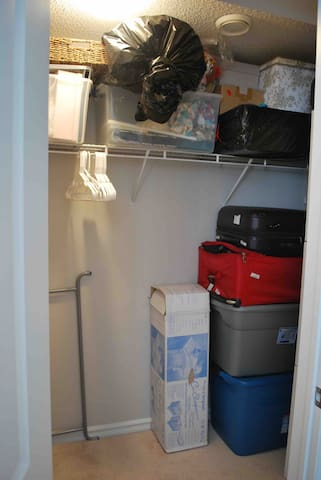 Space in walk in closet to hang your clothes and put your suitcases