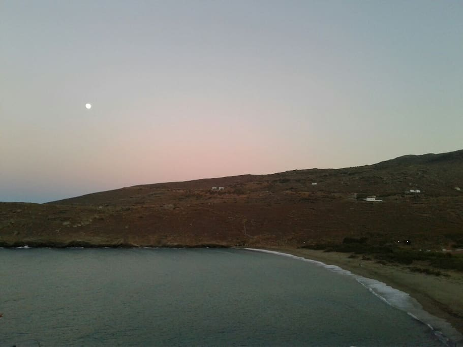 View from the balcony of the house during sunset-moonrise