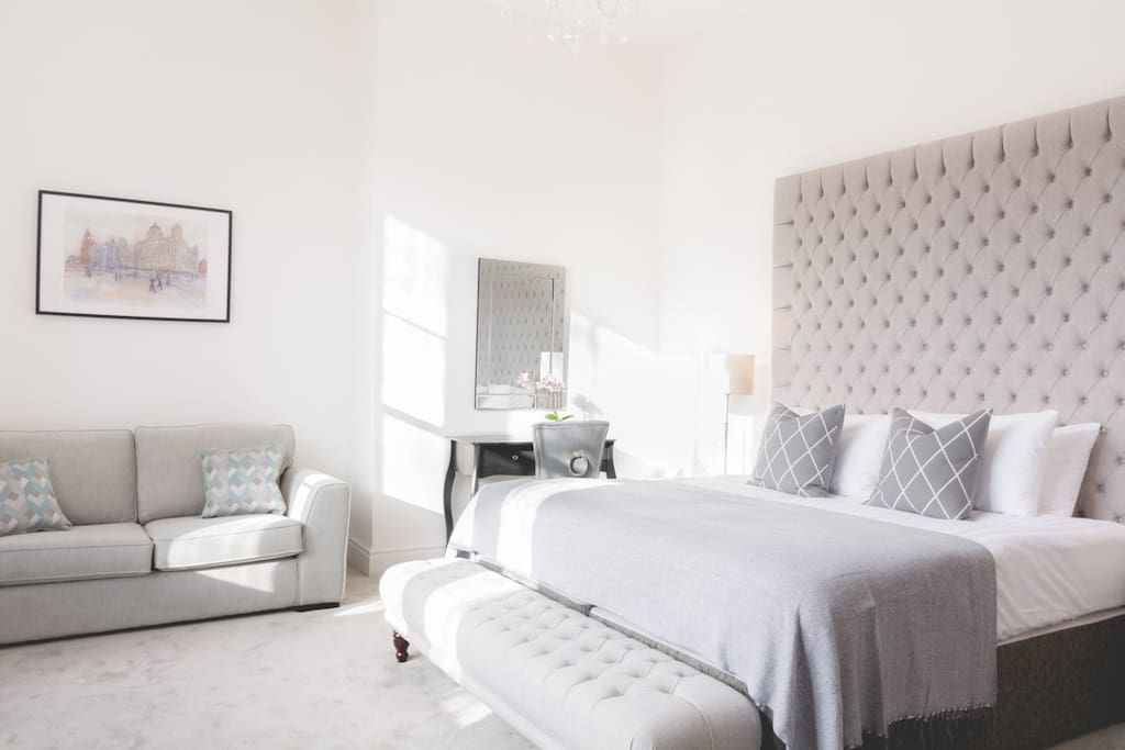 Huge luxurious master bedroom with super king size bed!