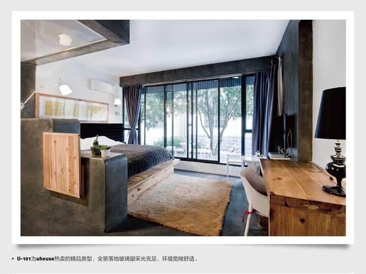 西湖灵隐有间房子客栈阳光落地窗大床房A101