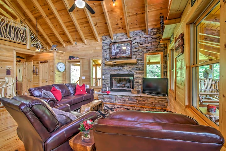 Warm up by the fireplace and watch shows on the flat-screen cable TV.