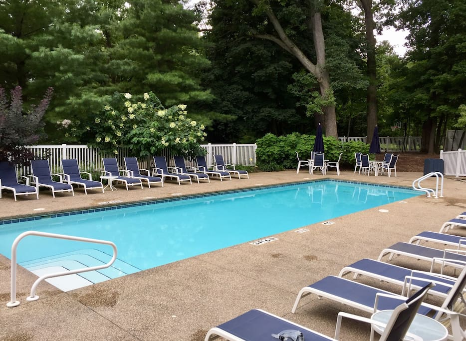 Heated association pool with club house kitchen and game room.