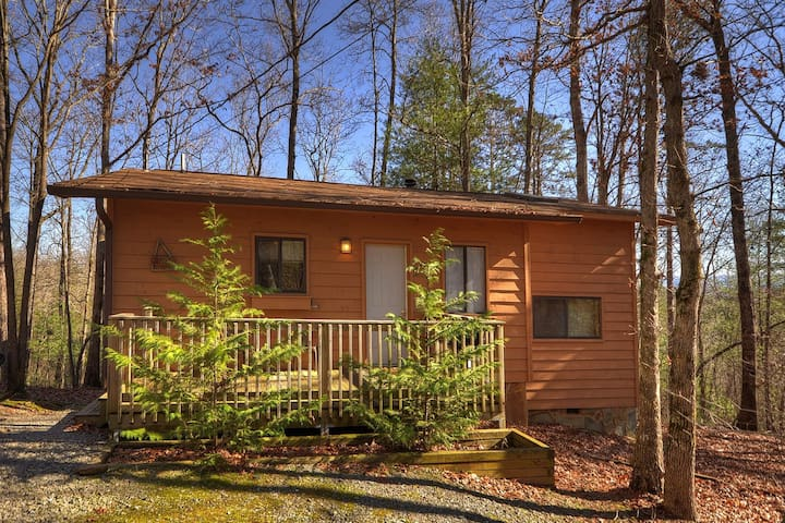 Birch Tree is a secluded & romantic 1 bedroom cabin with indoor hot tub and wood burning fireplace.