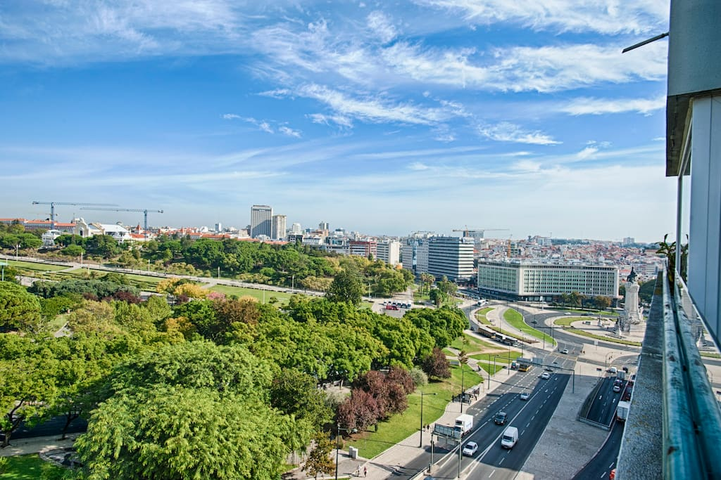 view from the balcony to the Park and Marquês de Pombal Square (city center)