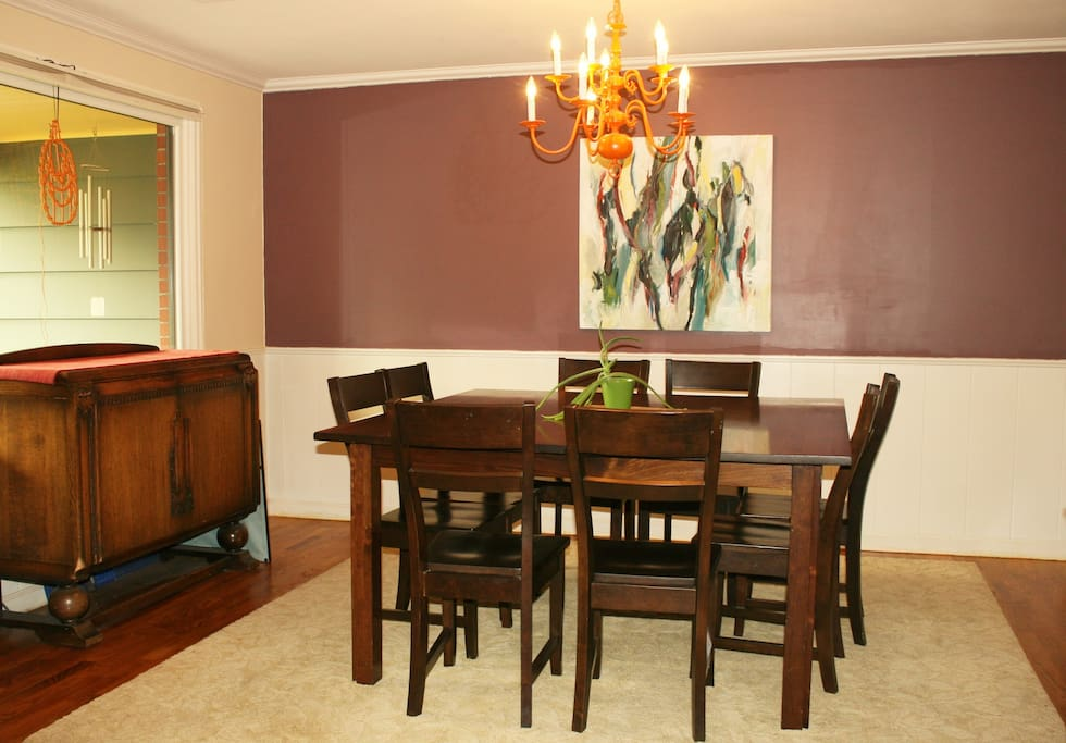 Large formal dining room for family dinners. Can seat up to 12 people.