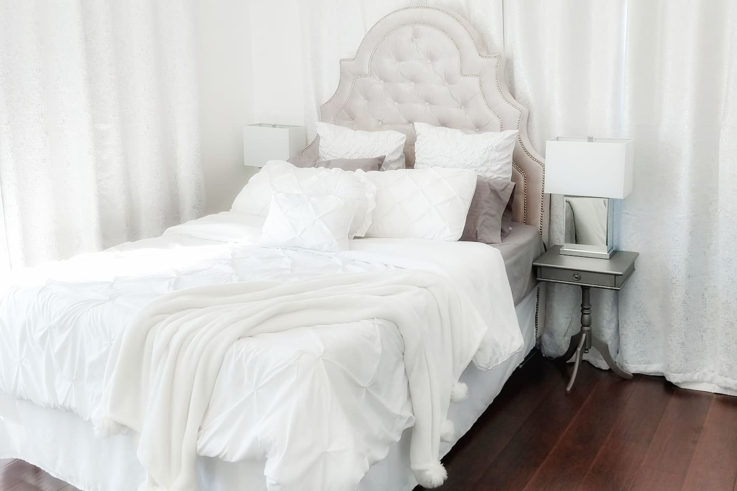Snuggle up in your cozy, queen bed!