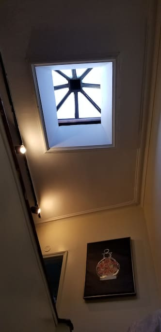skylight above stairs into apartment.