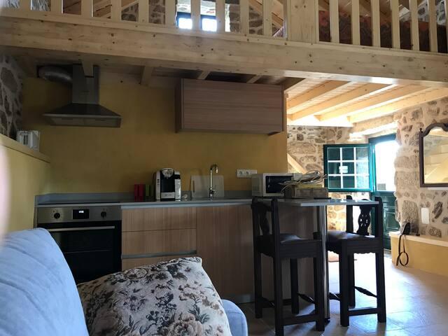 Kitchenette equipada com forno, placa cerâmica, microondas, frigorífico, máquina de café e torradeira.