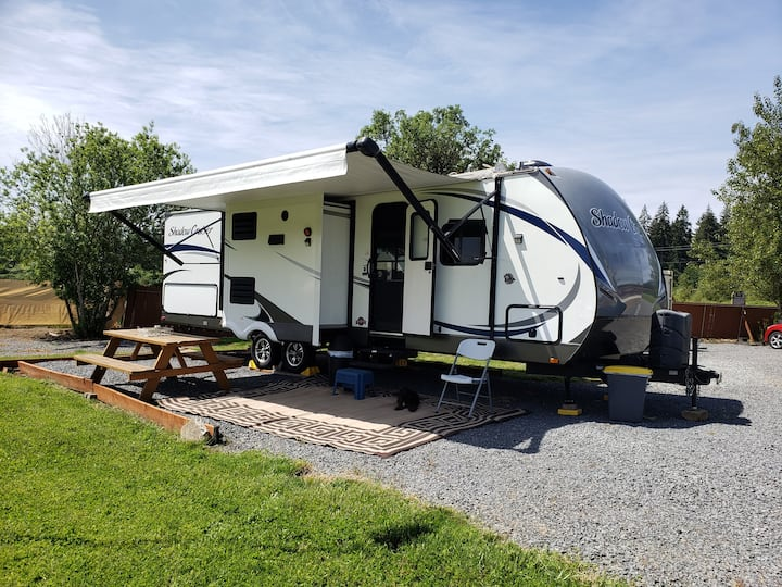 Camp out in new RV, with hot tub at our farm