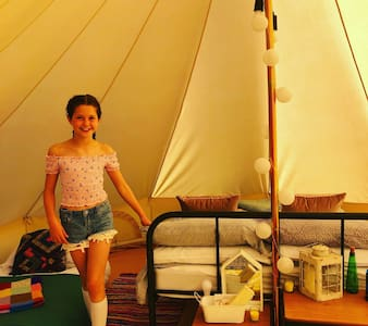 Sleep under the stars with your own bell tent and fire pit (sleeps 4)