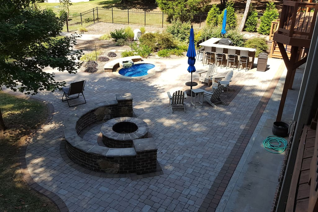 Expansive lakeside patio area