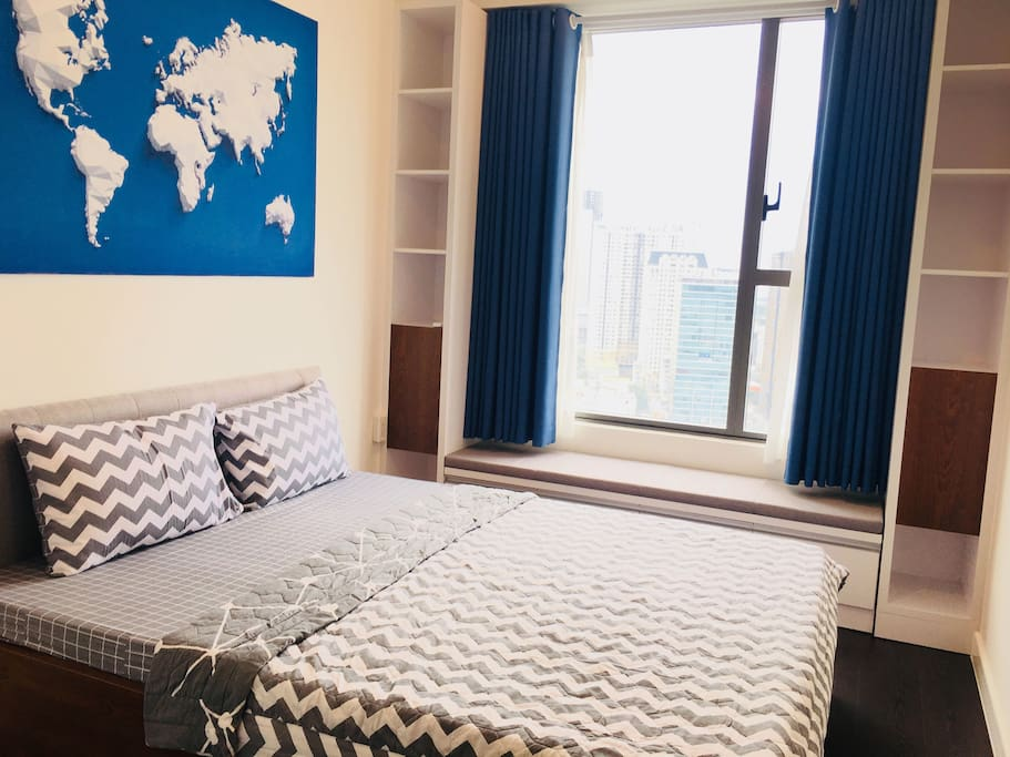 Bedroom with blue color unique to make more fresh