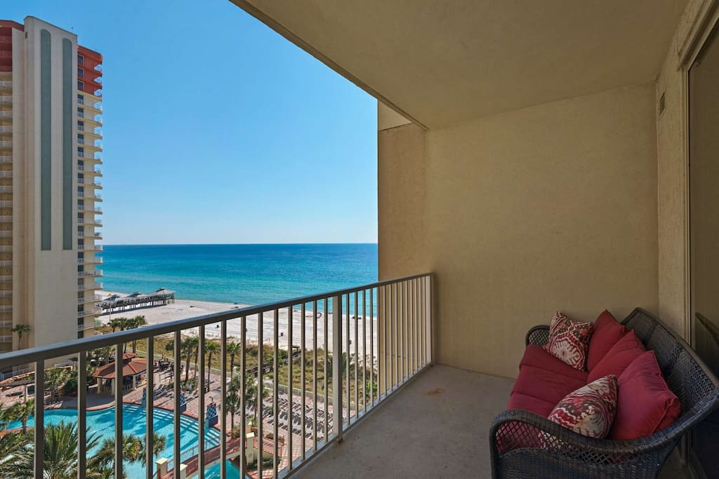 Beautiful balcony overlooking the Gulf of Mexico