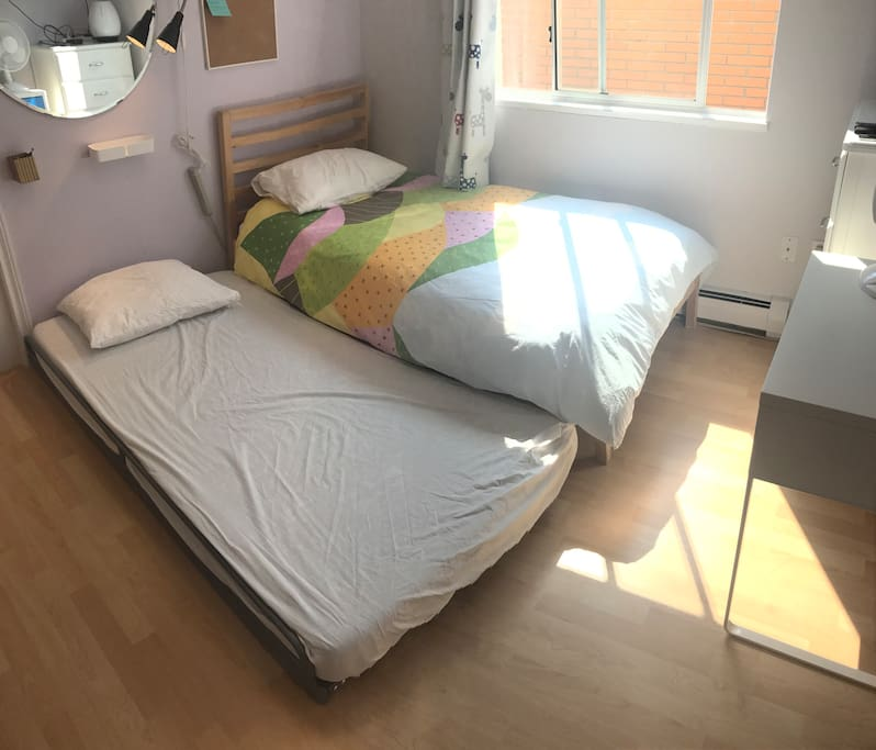 A pull out mattress with a 2nd set of duvet can be provided