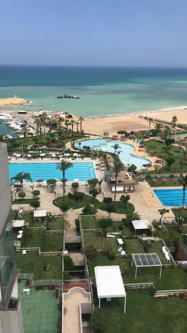 Sand beach & swimming pool