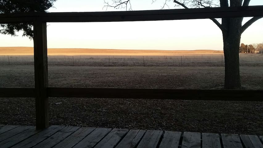 Here is a view of the sunrise from The Bunkhouse deck.