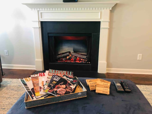 Cozy up and watch some TV with the fireplace on!  Visual fireplace only OR for those chilly days you can turn on the heating component as well!