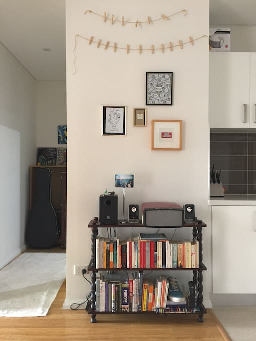 Library bookcase and record player in the living area