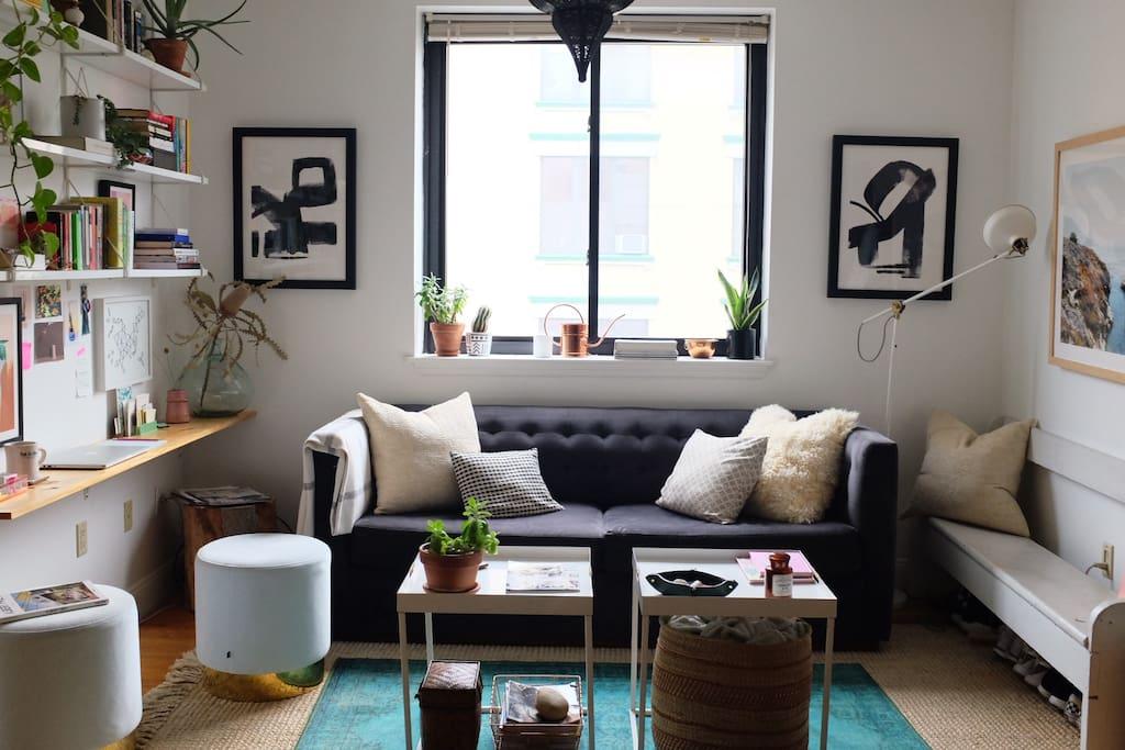 living room with desk nook