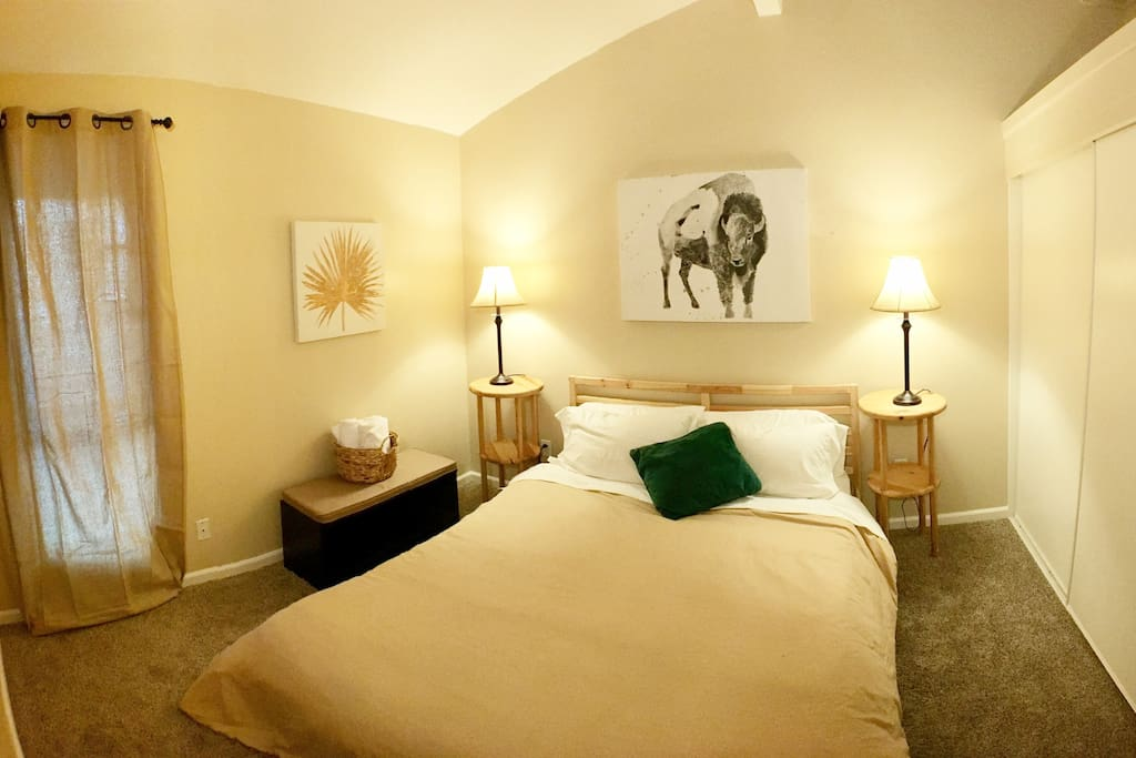 Guest bedroom with trendy queen bed and lots of closet space