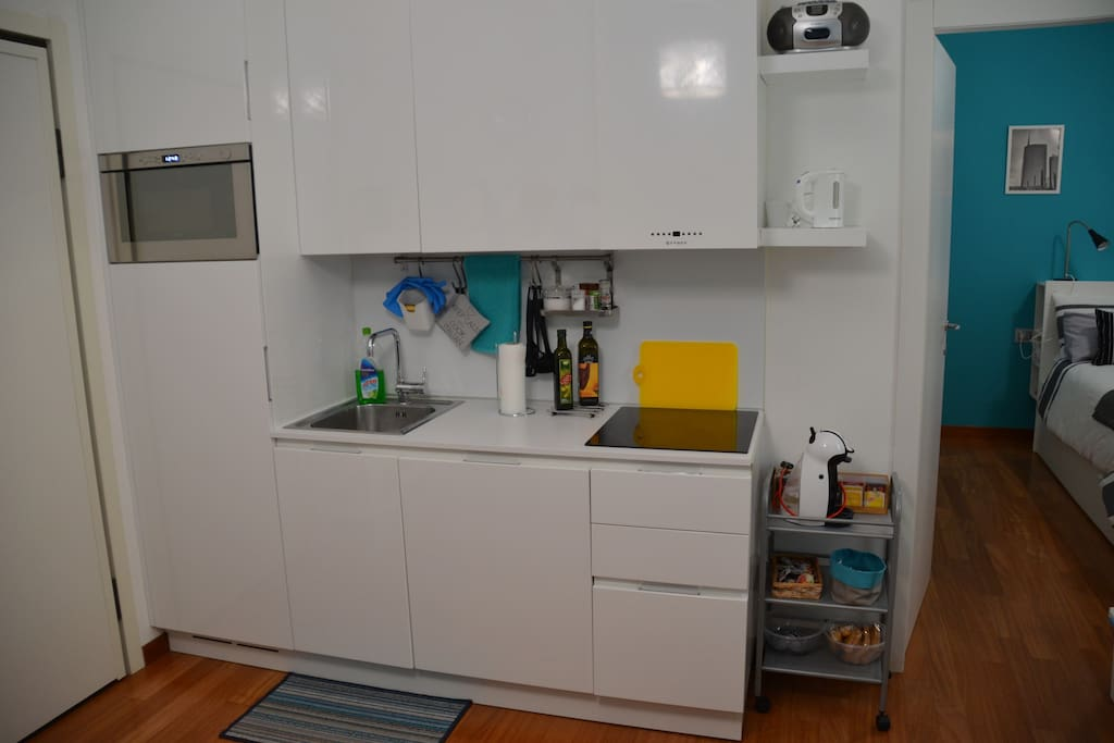 Kitchen with everything you need to make food including dishes, microwave, dishwasher, fridge and induction oven.