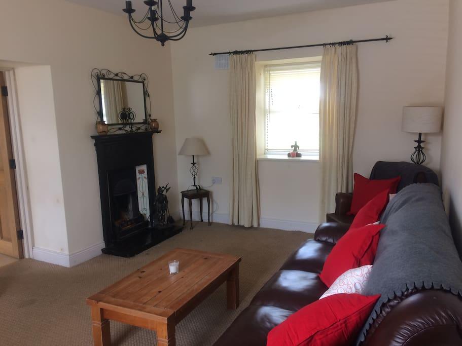 Living Room with Original Fireplace