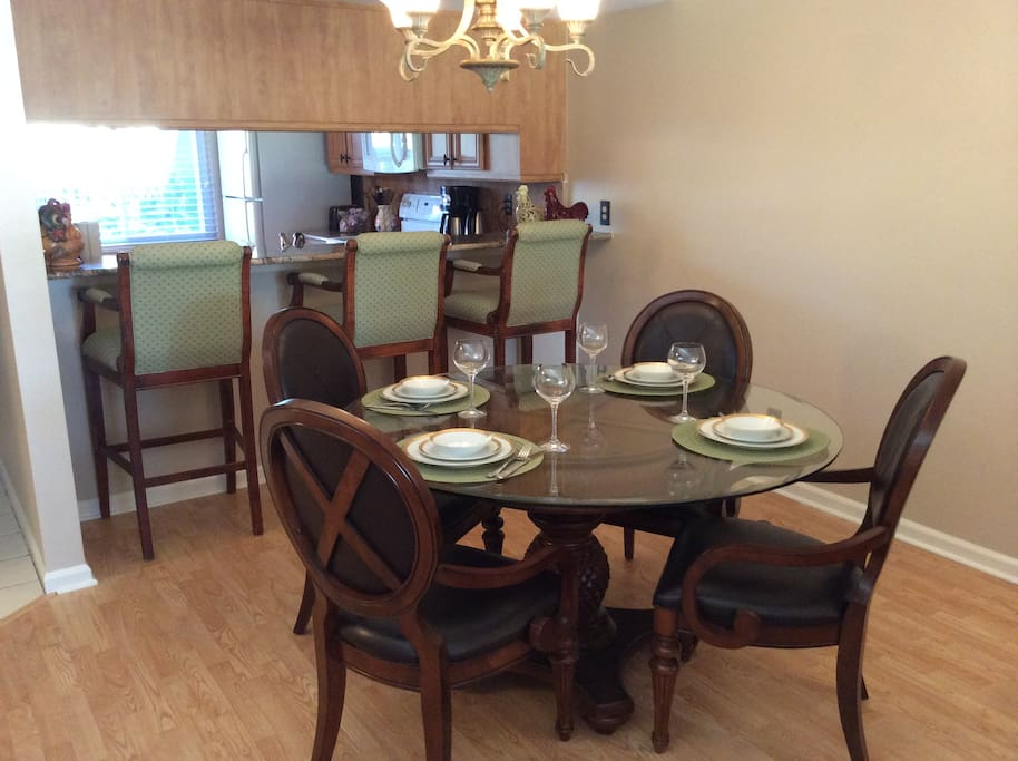 Dining area can accommodate six
