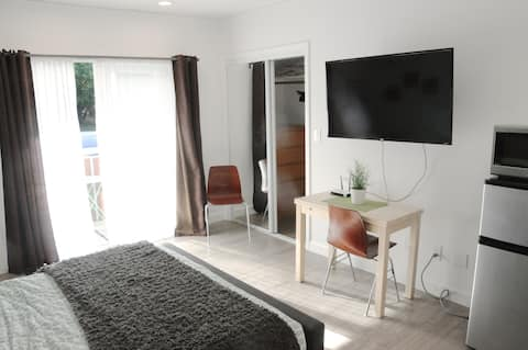 Central and very private studio with parking