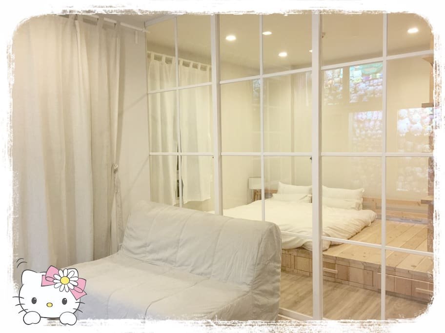 One king cotton mattress, and one sofa bed ( double bed) .