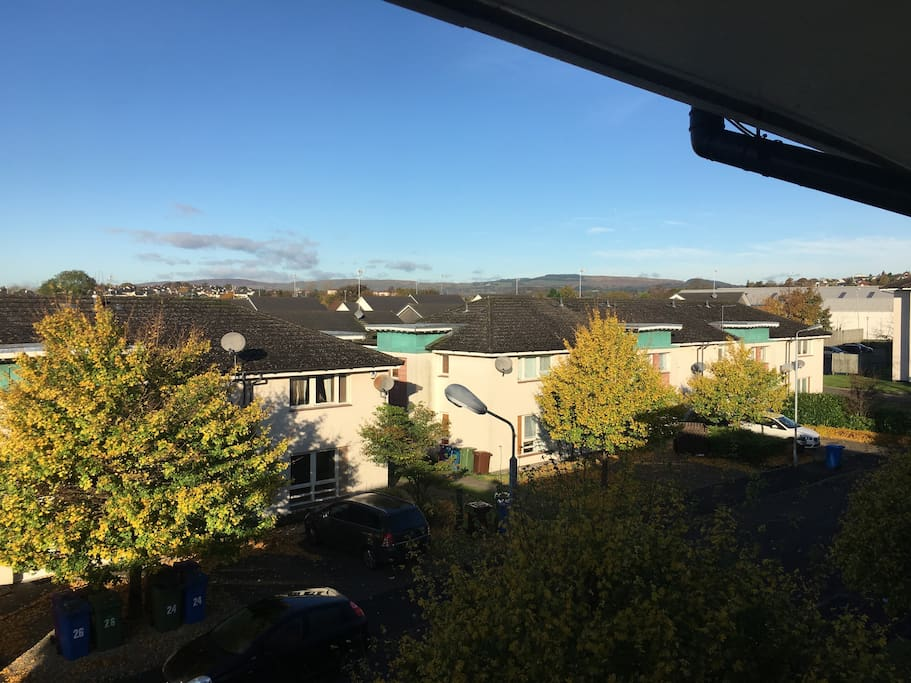 Beautiful view from the living room out to the Campsie Hills in the Distance