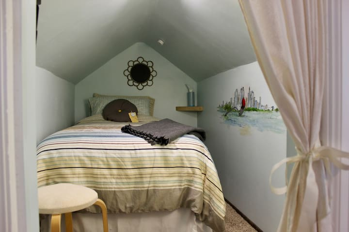 """Walker Room"" with a TWIN bed. This tiny attic space is located inside the ""Meadowbrook Room."""