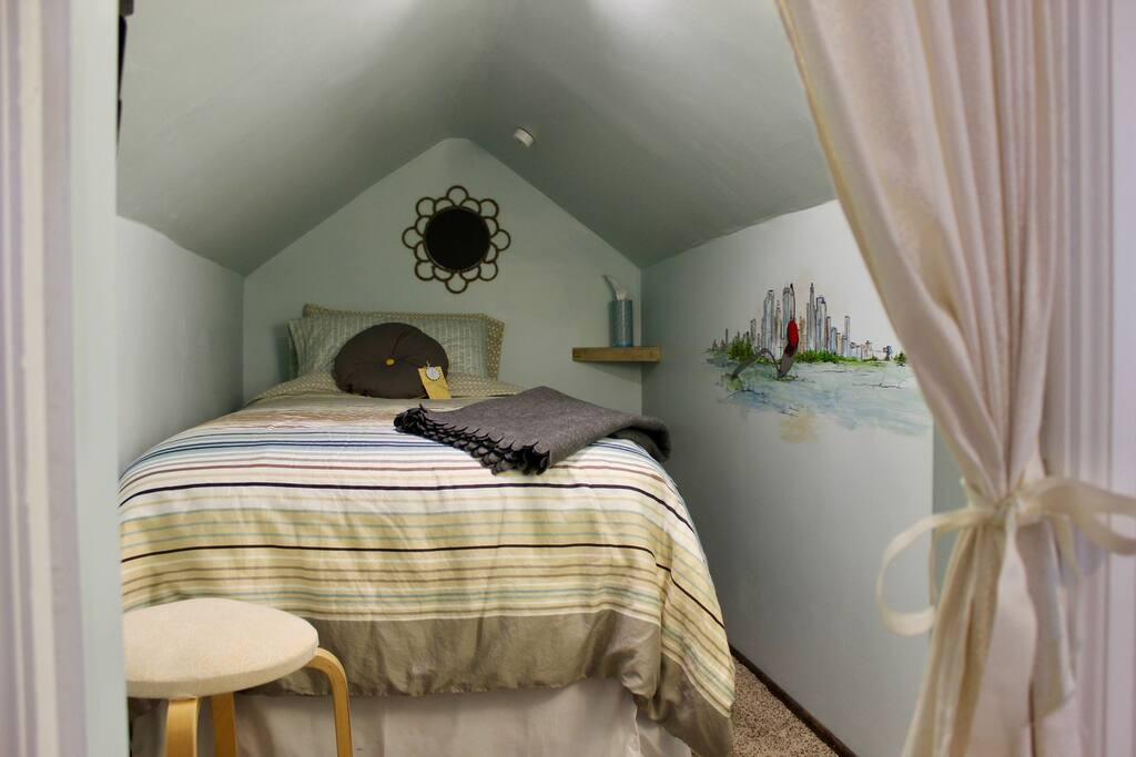 """""""Walker Room"""" with a TWIN bed. This tiny attic space is located inside the """"Meadowbrook Room."""""""