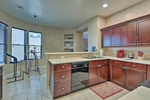 The kitchen is fully equipped to handle your cooking needs.