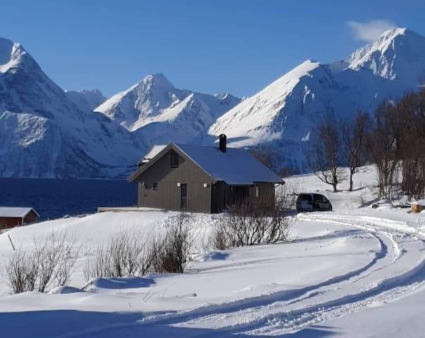 Hytte ved sjøen, nærhet til fjell og natur. Lyngen
