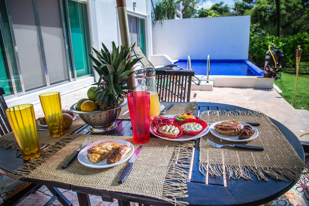 Enjoy your breakfast next to the pool