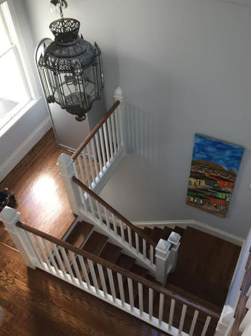 The entrance up the stairs.