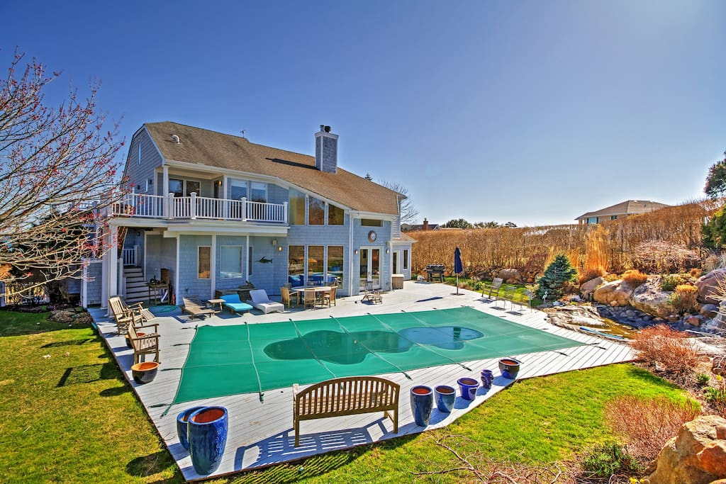 Relax in the private pool at this Montauk vacation rental home.