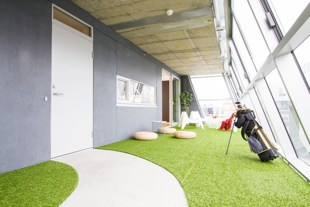 Wintergarden with artificial grass.