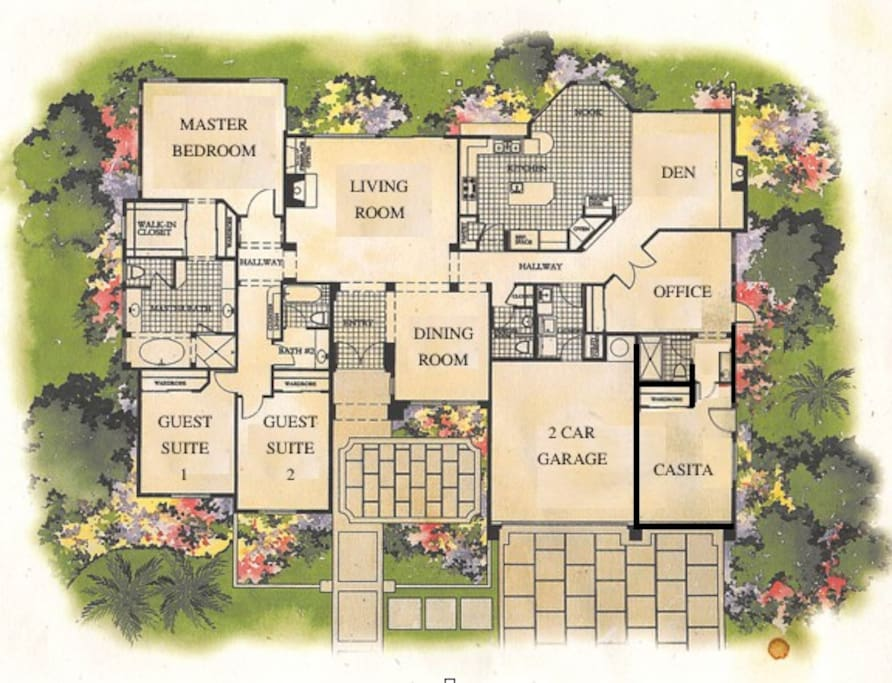Here's how it all lays out. For two couples traveling together--notice how the master bedroom and the casita are located on opposite ends of the house, each with their own en suite baths.