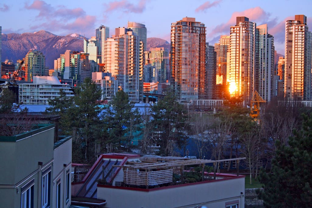 Grouse Mountain, Granville Island, and downtown, as seen from our rooftop