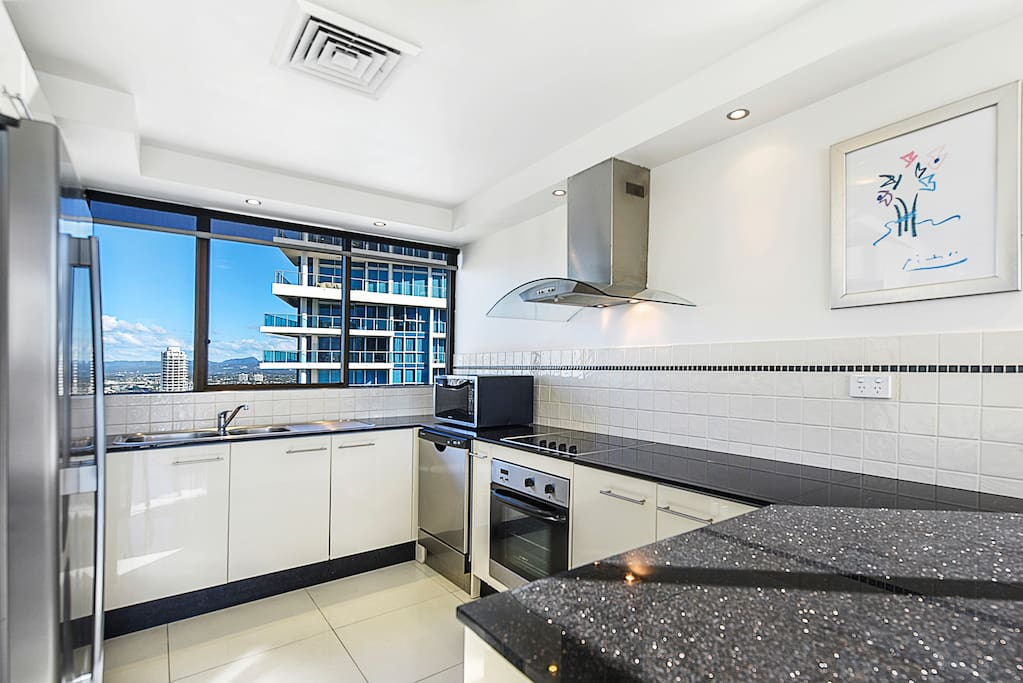 Fully equipped kitchen with hinterland views