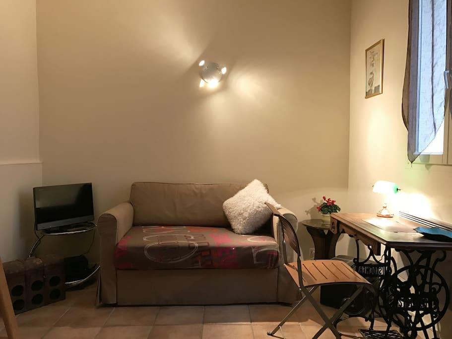 Salon avec canapé lit et TV