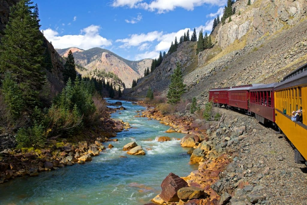 Durango-Silverton narrow-gauge train has continuous spectacular views.