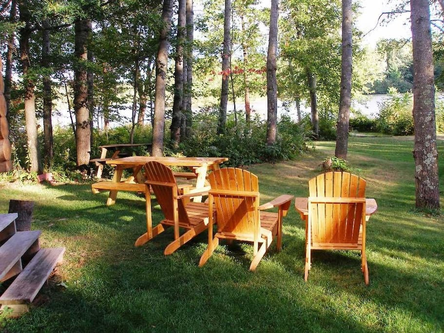 Adirondack chairs and picnic table.
