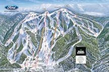 Snow Summit Ski Resort trail map. Located 2.3 miles from the cabin.