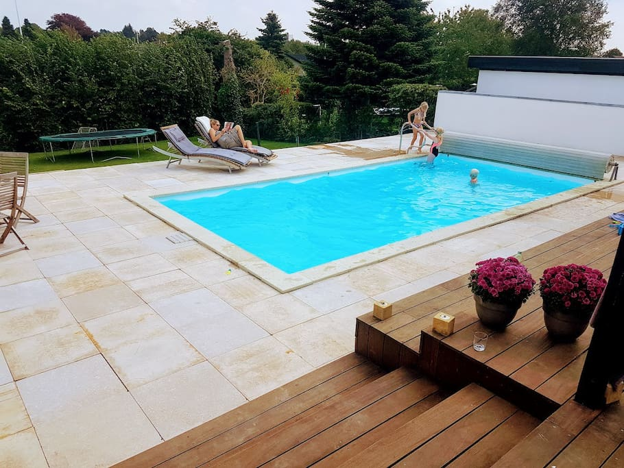 large pool area with Egyption marble natural tiles