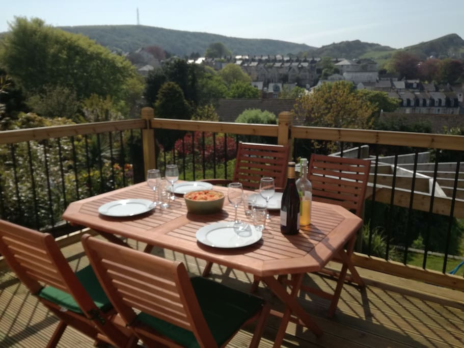 large upper decking from dining room